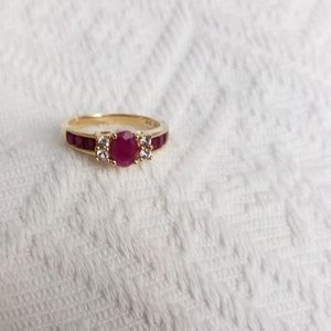 10K gold ring with rubies and white sapphires